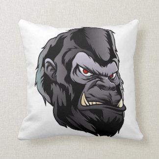 gorilla head illustration throw pillow