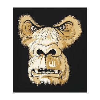 Gorilla head on black background canvas print