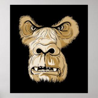Gorilla head on black background poster