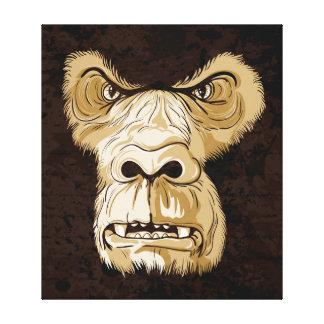 Gorilla head on black brown grunge background canvas print