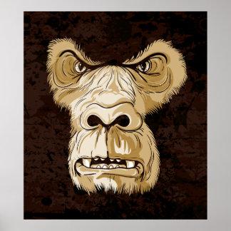 Gorilla head on black brown grunge background poster