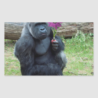 Gorilla Holding Flower Rectangular Sticker