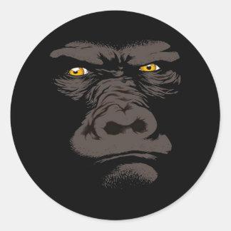 Gorilla in Black Classic Round Sticker