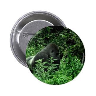Gorilla in leaves green tint wildlife animal pinback buttons