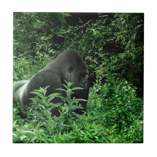 Gorilla in leaves green tint wildlife animal ceramic tile