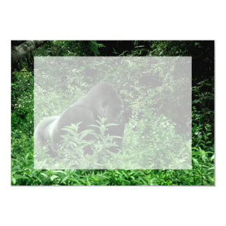 Gorilla in leaves green tint wildlife animal 5x7 paper invitation card