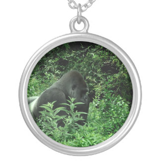 Gorilla in leaves green tint wildlife animal round pendant necklace