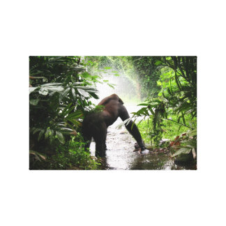 Gorilla In The Jungle Stretched Canvas Prints