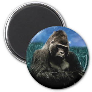 Gorilla in the meadow 2 inch round magnet