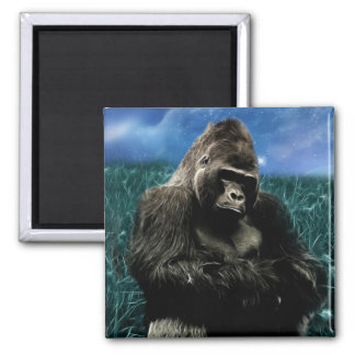 Gorilla in the meadow 2 inch square magnet