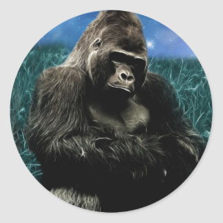 Gorilla in the meadow classic round sticker
