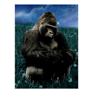 Gorilla in the meadow poster