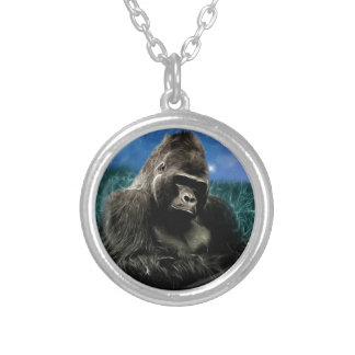 Gorilla in the meadow silver plated necklace
