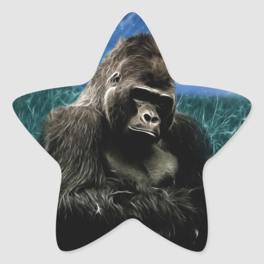 Gorilla in the meadow star sticker