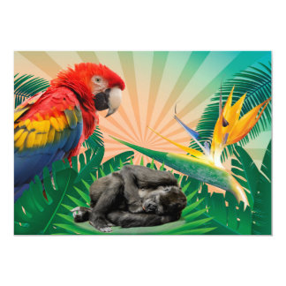 Gorilla jungle parrot card