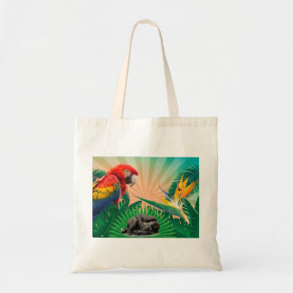 Gorilla jungle parrot tote bag