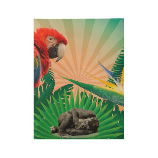 Gorilla jungle parrot wood poster
