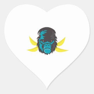 Gorilla Madness Heart Sticker