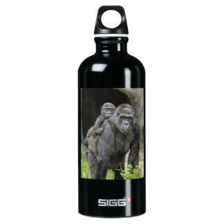 Gorilla mom and baby Piggyback #1 Water Bottle