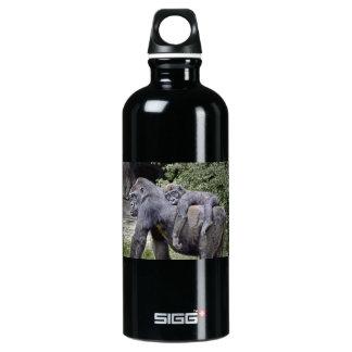 Gorilla Mom and Baby Piggyback #2 Water Bottle