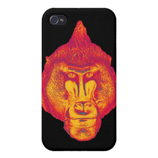 Gorilla or Ape, Close Up Face, Red and Yellow iPhone 4 Case