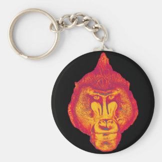 Gorilla or Ape, Close Up Face, Red and Yellow Keychain