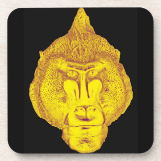 Gorilla or Ape, Close Up Face, Yellow Beverage Coaster
