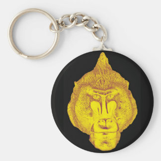 Gorilla or Ape, Close Up Face, Yellow Keychain