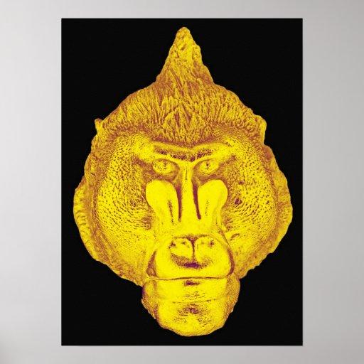 Gorilla or Ape, Close Up Face, Yellow Poster