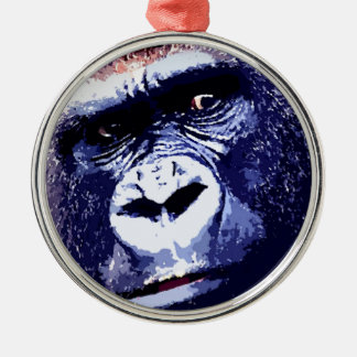 Gorilla Round Metal Christmas Ornament
