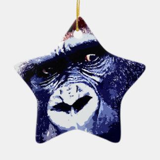 Gorilla Double-Sided Star Ceramic Christmas Ornament