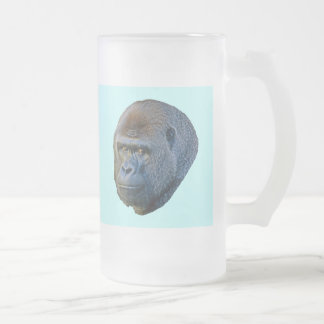Gorilla Picture Frosted Glass Beer Mug