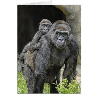 "Gorilla ""Piggyback"" mom and baby #1 Card"