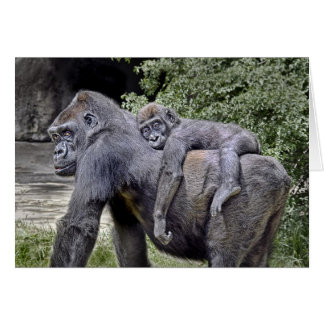 "Gorilla ""Piggyback"" mom and baby #2 Card"