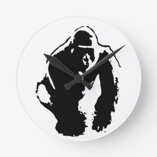 Gorilla Pop Art Round Wall Clocks