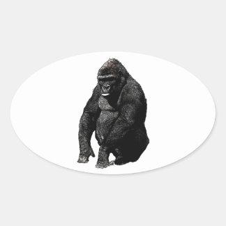 Gorilla Pop Art Oval Sticker