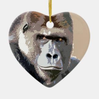 Gorilla Portrait Ceramic Ornament