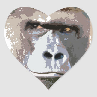Gorilla Portrait Heart Sticker
