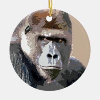 Gorilla Portrait Double-Sided Ceramic Round Christmas Ornament