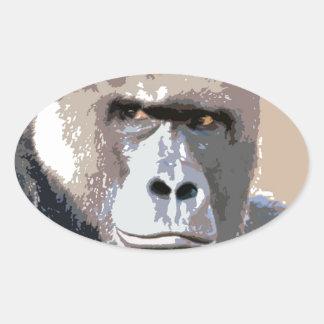 Gorilla Portrait Oval Sticker
