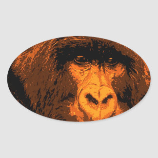 Gorilla Portrait Oval Sticker