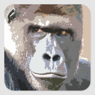 Gorilla Portrait Square Sticker