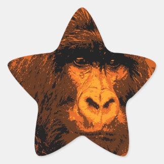 Gorilla Portrait Star Sticker