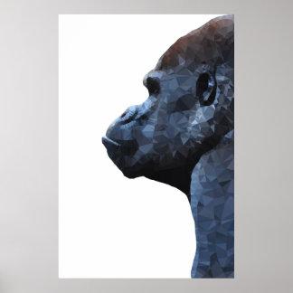 Gorilla print. Modern abstract animal. Polygon art Poster
