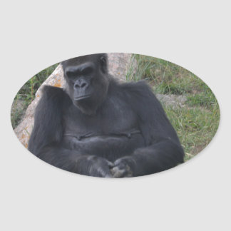 Gorilla sitting oval sticker