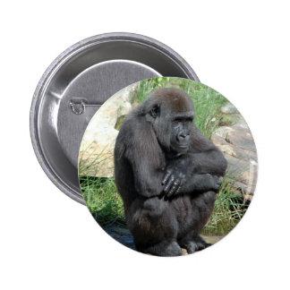 Gorilla Sitting Round Button