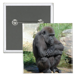 Gorilla Sitting Square Pin