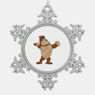 Gorilla Snowflake Pewter Christmas Ornament