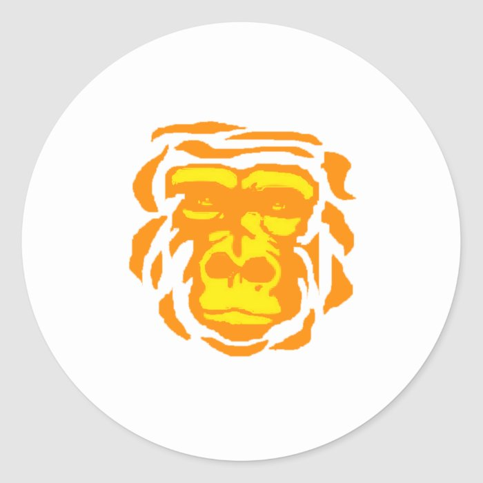 Gorilla Sunrise Classic Round Sticker