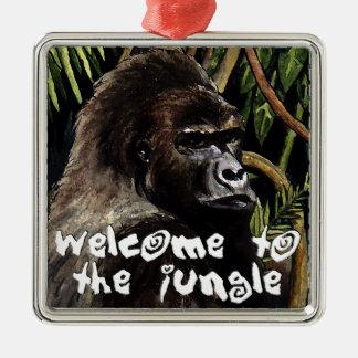 gorilla welcome ton the jungle metal ornament
